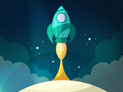 Rocket clouds stars blue cute spaceship launch cosmos flat illustration vector rocket space