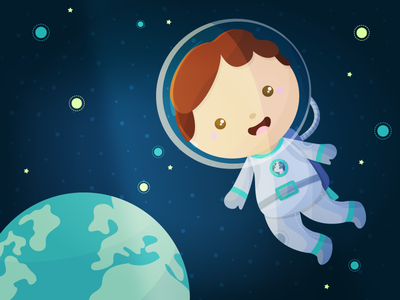 Space Boy adventure explorer astronaut planet kid children illustration cute stars earth boy space