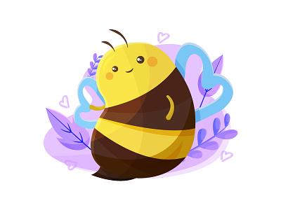 Cute Bee character insect gustavo petro colombia humana purple flat illustration vector love kawaii cute bee