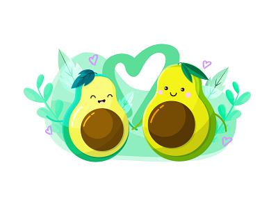 Avocado Love love kawaii illustration food cute character avocado aguacate