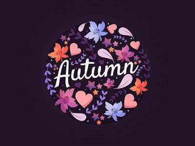Autumn for Freepik illustration flat vector purple kawaii cute heart leaves season autumn freepik