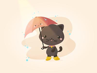 Rainy Day illustrator challenge illustration vector cute kawaii rain rainy day black cat umbrella cat