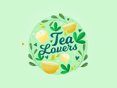 Tea Lovers for Freepik tea bag lover green leaves illustrator vector illustration cute cup tea lover tea freepik