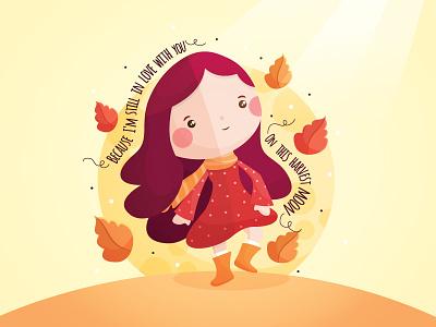 On this Harvest Moon leaves love flat song harvest moon girl fall autumn vector cute kawaii illustration