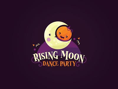Rising Moon kandu japan harvest moon rising party dance moon pumpkin halloween moonrise branding logo flat kawaii vector cute illustration