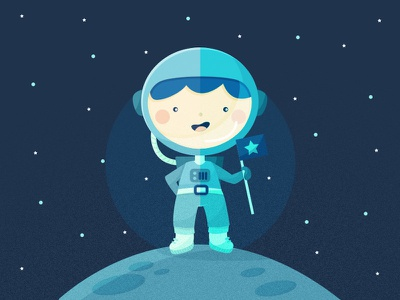 My little astronaut for Freepik boy kid blue stars astronaut moon space freepik flat kawaii vector cute illustration