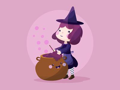 It's Halloween, witches! vector flat kawaii illustration cute freepik witch potion halloween