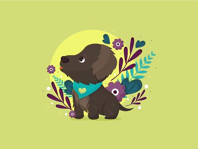 A little good boy design sketch illustrator boy black puppy dog love flat kawaii vector cute illustration