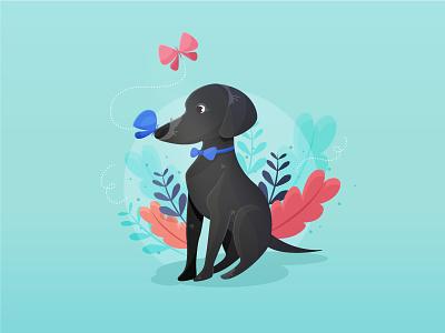 Adorable Senior Dog portrait mutt butterfly black senior love illustrator dog flat kawaii vector cute illustration