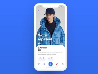 Clothes shop - product iphone store coat blue clothes shop design apple ios app ui ux
