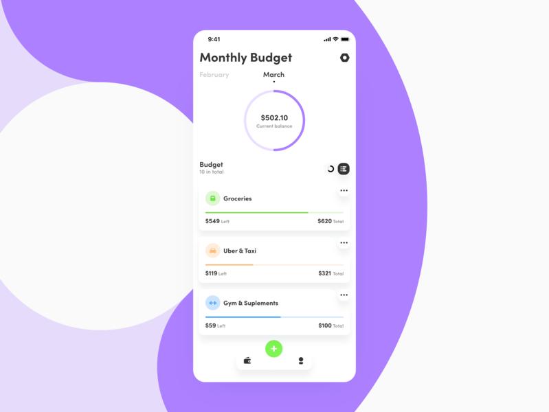 Classic Budget App planing budget money colors mobile app icon app design ux ui