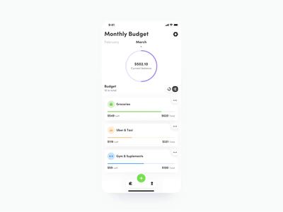 🌗Budget Tracking App - Dark Mode card dark mode dark motion design motion tracking budget money icon mobile app design ux ui