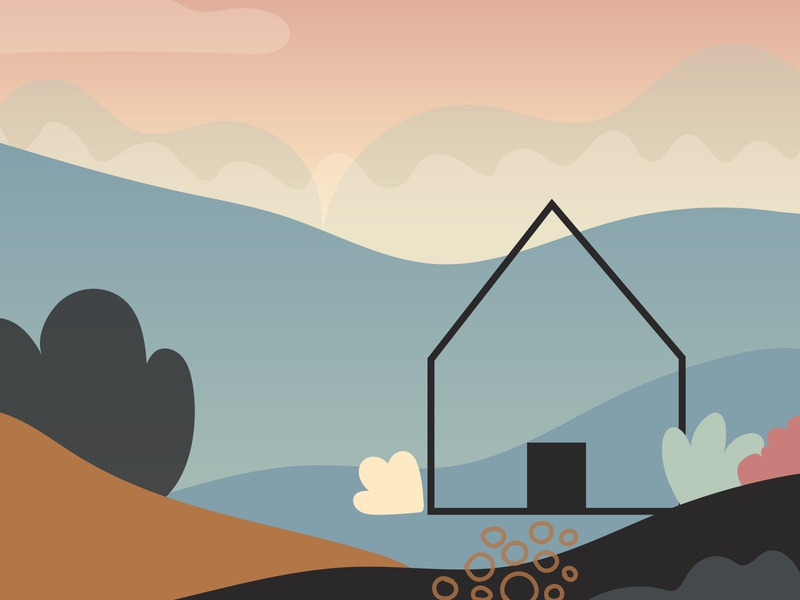 Illustration Practice with a House theme wacom gradients soft colors house practice design vector illustration