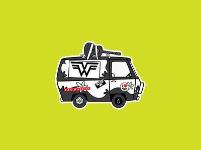 Van Waylon Scooby Doo Sticker identity logo illustration classic guitar music band scooby doo sticker