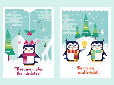 Christmas Penguins vector ui penguins ninai freitas freebie free flat cute christmas