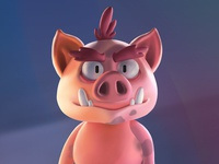 Hand drawn pig
