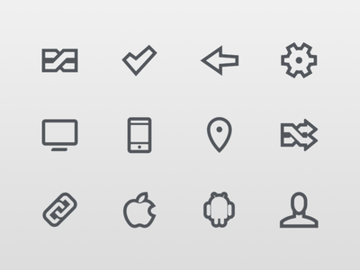 Icons icons ios compare check mark back settings desktop mobile location links apple android user
