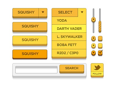 UI Kit ui kit star wars twitter search gotham buttons dropdown radio checkbox yellow
