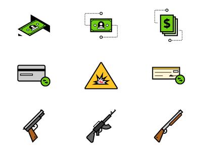 Icons pistol rifle shotgun icons cash transfer credit card explosion check