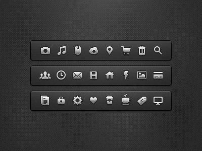 UI Icons ui icons mini icons camera note cloud location cart trash search time mail lightning coffee gear