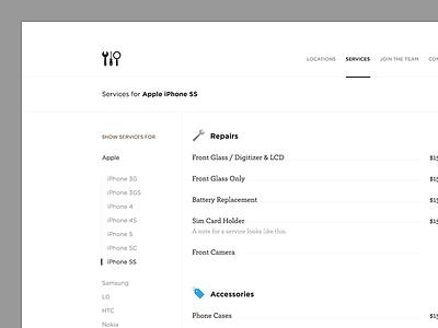 Service Page menu phone repair iphone services