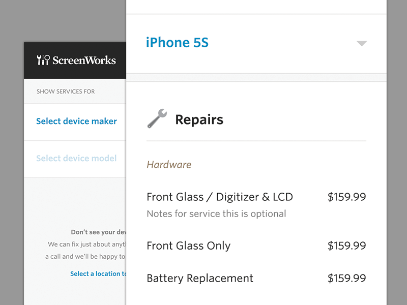 Service Menu menu services repair mobile