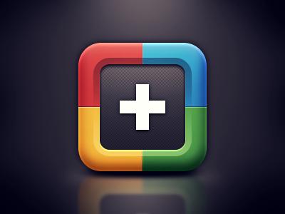 Google+ iOS Icon icon google plus blue red green yellow ios