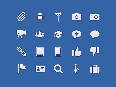 Icons for @Iconbolt icons 32 paperclip android martini camera video like flag suitcase education