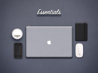 Essentials icons iphone macbook pro moleskin magic mouse coffee