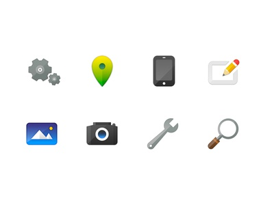 More Icons photo camera search location iphone compose settings wrench
