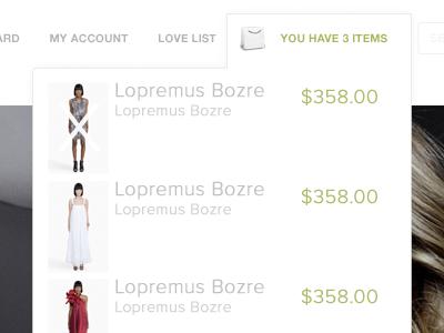 Drop down menu of shopping cart shopping cart web interface design