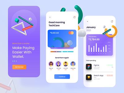 FinTech- Wallet App Concept chart app clean 3d ux ui uxui interface money currency finance wallet mobile fintech app application bank card analytics transaction
