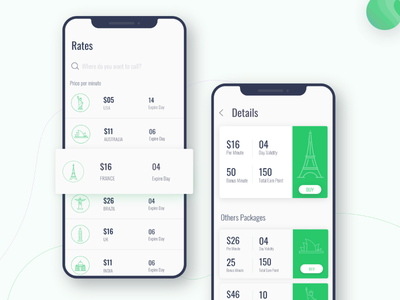 International Calling App Design voip design ux ui app