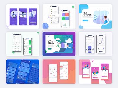 Through Back 2018 typography vector gradient branding mobile app card list interface adobe xd illustration app design android ios trending ux design ui app 2018 best 9