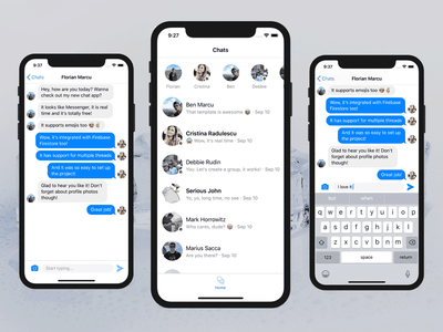 Swift iOS Chat App Template realtime firebase swift messenger chat ios
