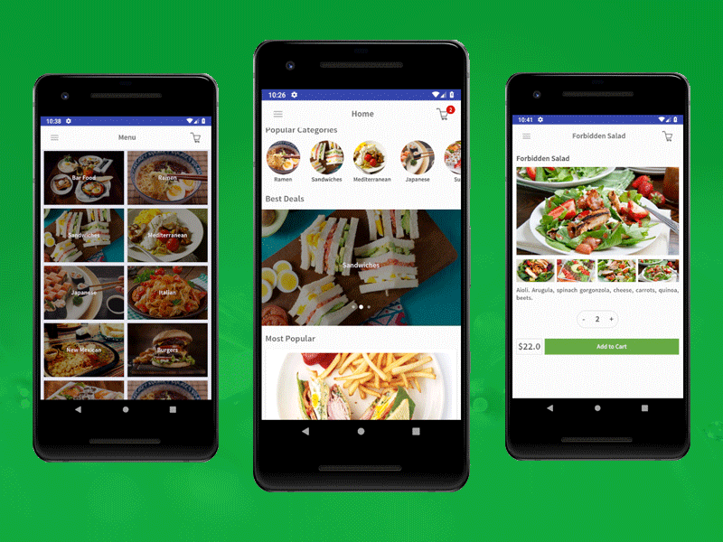 Android restaurant app design template by ios