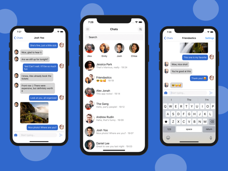 react native chat app template ui kit by ios app templates