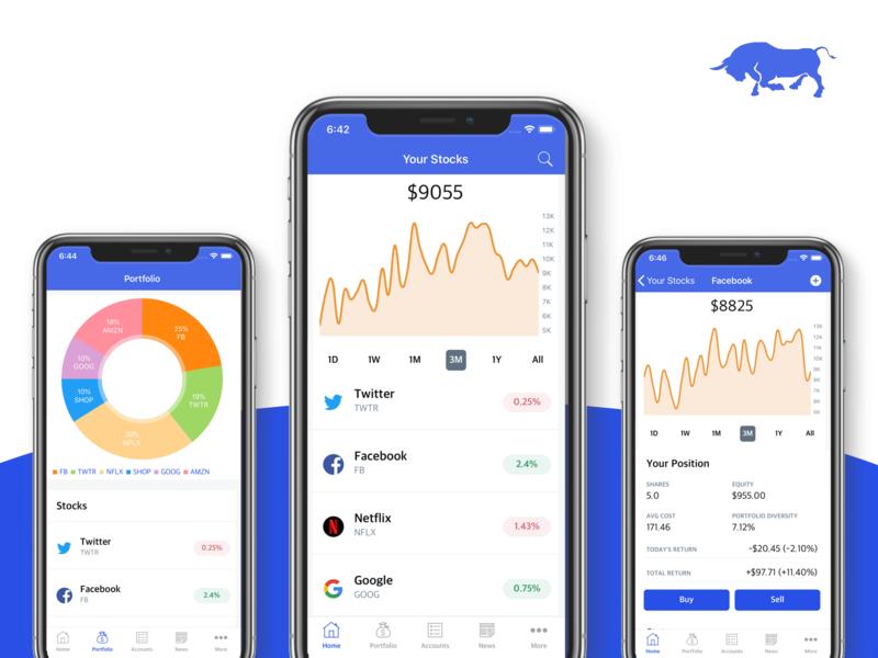 Stocks App Template mobile app development dashboard ui dashboard robinhood bank app banking charts chart finance app finance stocks