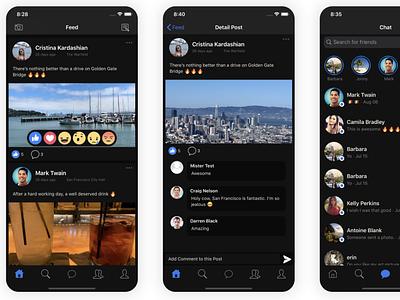 Social Network - Dark Mode ui design template mobile app development ios swift firebase app template mobile mobile templates