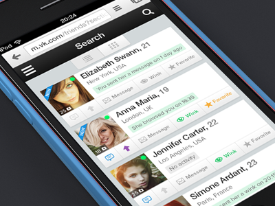 Search results page for mobile website (list view) app favorite girls girl profile search social ui ux