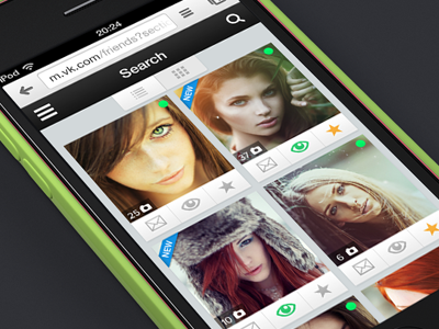 Search results page for mobile website (thumbs view) app favorite girls girl profile search results social ui ux