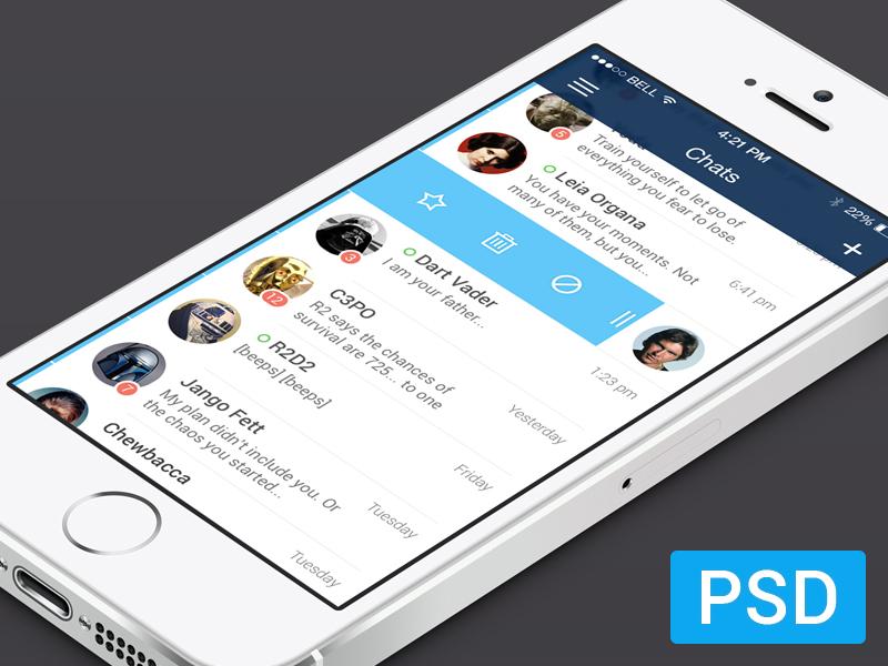 List (.psd) ios app iphone star wars clean simple rd2d c3po chats list psd flat