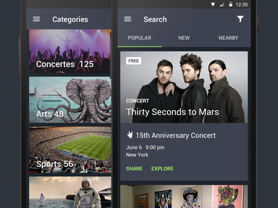 Events app categories search event android material ui app