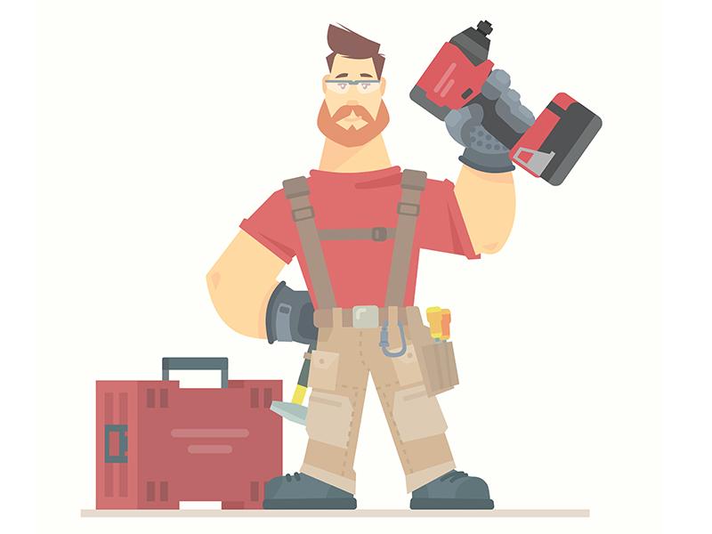 Construction worker character diy tools flat character illustration