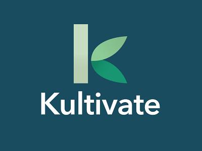 Kultivate Logo Design logodesign logotype logos letter k leaves leaf k design branding symbol logo design logo