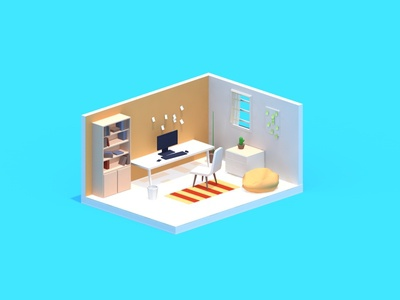 This is a C4D practice piece about an isometric room.