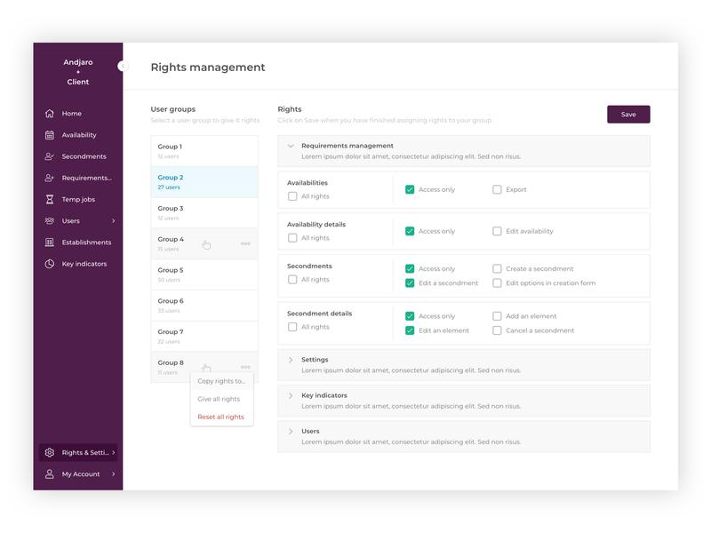 Andjaro - Rights Management sketch rights app web app andjaro design ui