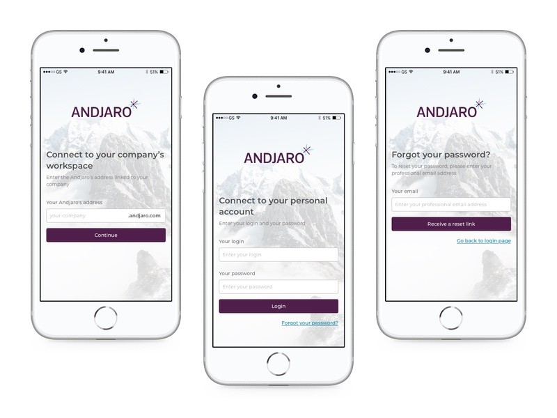 Andjaro - Login sketch app sign in login screen login mobile design mobile app mobile ui mobile andjaro ui design