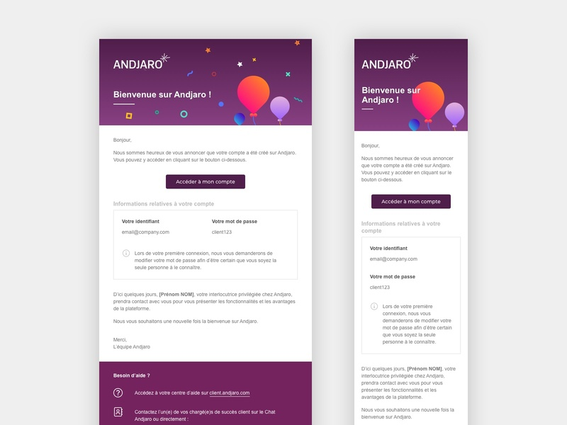 Andjaro - Welcome Email sketch welcome email email template email design email andjaro design