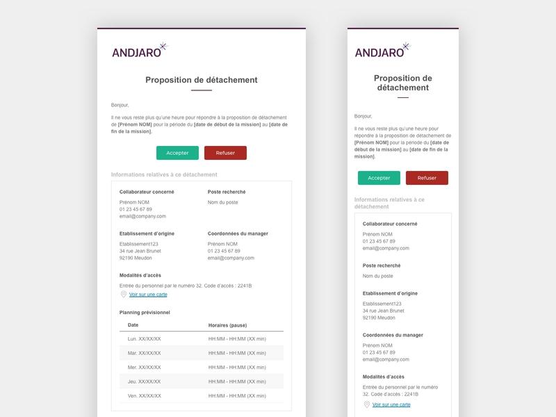 Andjaro - Secondment Proposal Email sketch email template email design email andjaro design